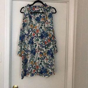 Parker silk cold shoulder dress